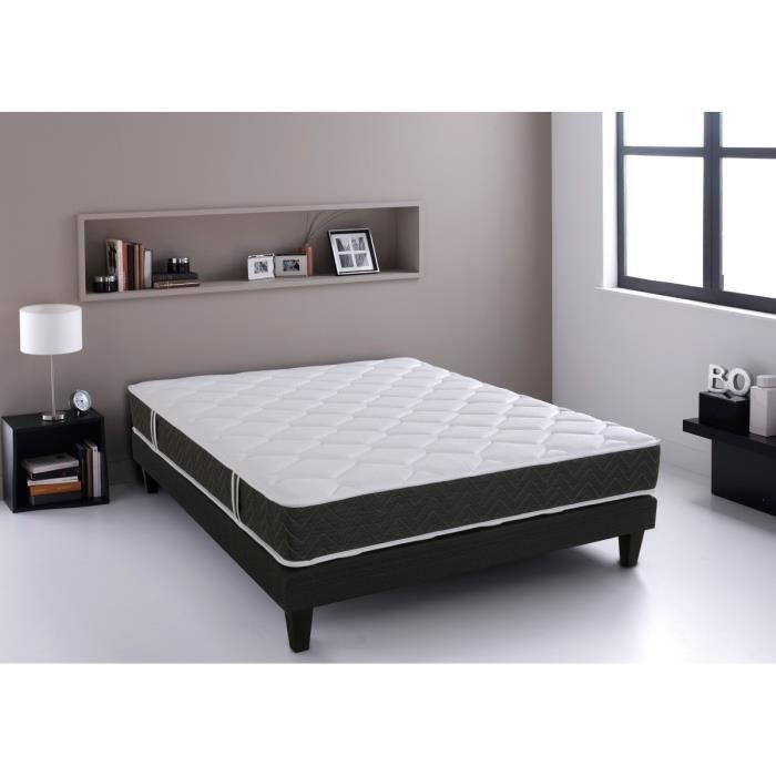 relaxima ensemble matelas sommier 180x200cm mousse et ressort dunlopillo 23cm ferme 50kg. Black Bedroom Furniture Sets. Home Design Ideas