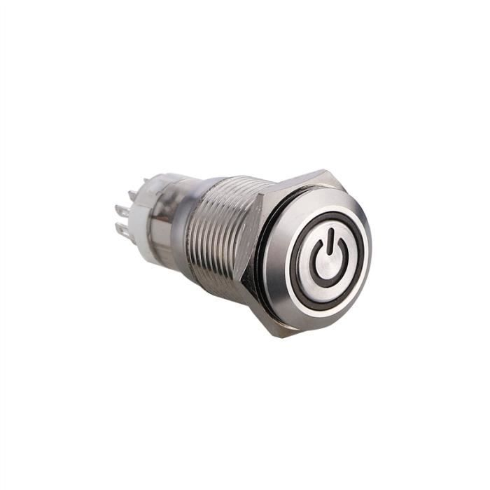 Cuque 12V 3A 16mm Interrupteur /à Bouton de R/éinitialisation Plat Universel Bouton de D/émarrage