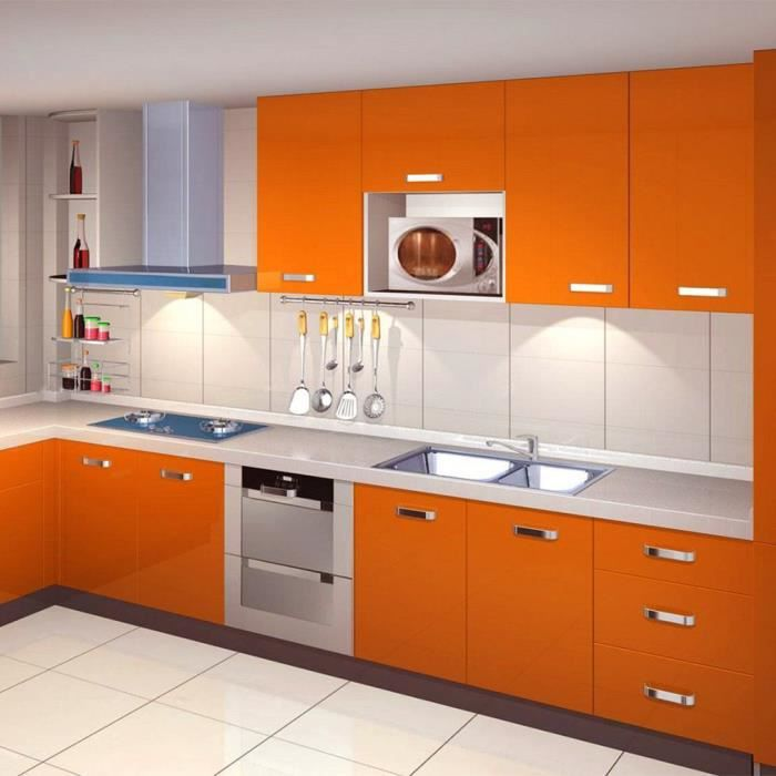 Perfect kinlo mm papier peint autoadhsif orange pour for Kitchen cabinets lowes with papiers peints cuisine
