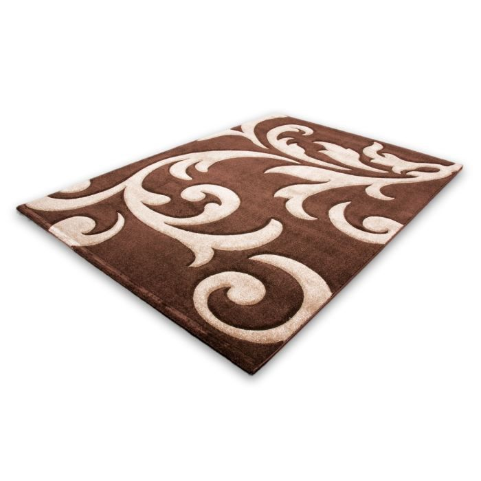 tapis moderne 140x200cm 100 polypropyl ne marron achat vente tapis cdiscount. Black Bedroom Furniture Sets. Home Design Ideas