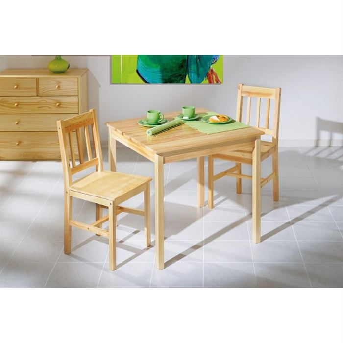 Ensemble carina table 2 chaises en pin massif achat for Table cuisine en pin