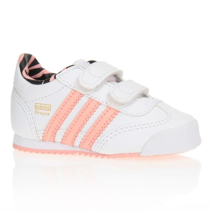 aeb9f09d7662e ADIDAS ORIGINALS Baskets Dragon Chaussures Bébé Fille Blanc et rose ...