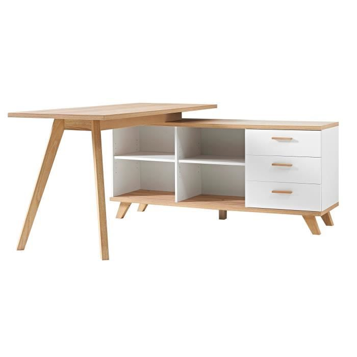 bureau d 39 angle contemporain ch ne blanc losana achat vente bureau bureau d 39 angle. Black Bedroom Furniture Sets. Home Design Ideas