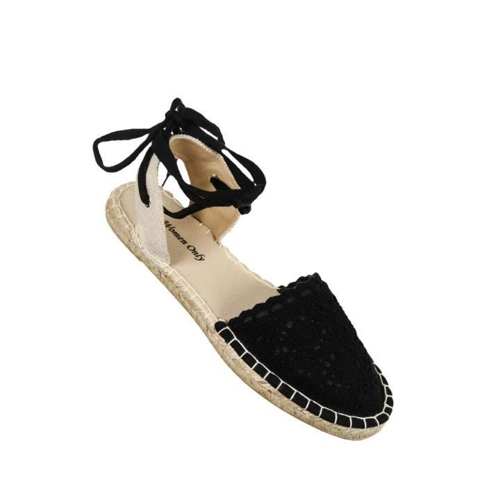 espadrilles femmes noir noir achat vente espadrille cdiscount. Black Bedroom Furniture Sets. Home Design Ideas