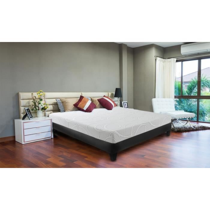 confort gel ensemble sommier matelas confort gel 180x200 2 places mousse m moire de. Black Bedroom Furniture Sets. Home Design Ideas