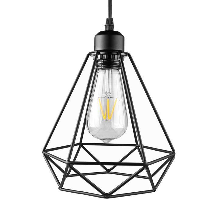e27 lampe suspension lustre cage en fer abat jour douille eclairage de plafond style. Black Bedroom Furniture Sets. Home Design Ideas