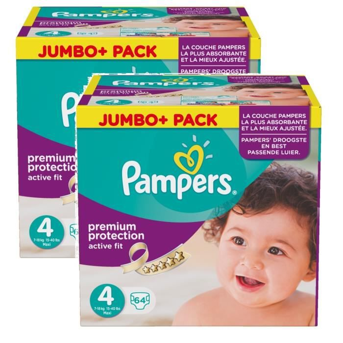 Pampers active fit taille 4 maxi 7 18kg jumbo plus pack - Couches pampers active fit taille 4 giga pack ...