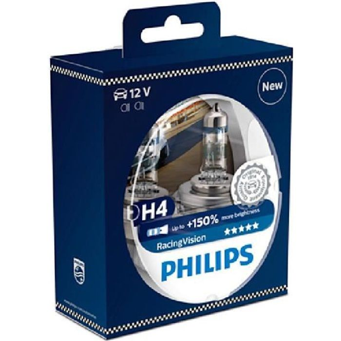 2 ampoules h4 12v 60 55w racing vision 150 philips. Black Bedroom Furniture Sets. Home Design Ideas