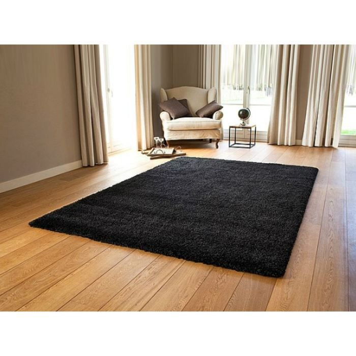 tapis shaggy premium 140 200cm noir achat vente. Black Bedroom Furniture Sets. Home Design Ideas