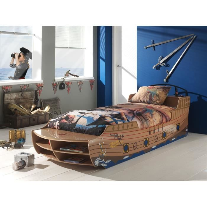 fun lit pirate boat bed enfant bois nature achat vente. Black Bedroom Furniture Sets. Home Design Ideas
