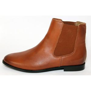 BOTTINES BASSES CHELSEA FEMME CUIR CARAMEL T 42 NEUVES