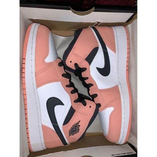 Basket Nike Air Jordan 1 Mid Pink Quartz(GS)Chaussure pour Femme ...