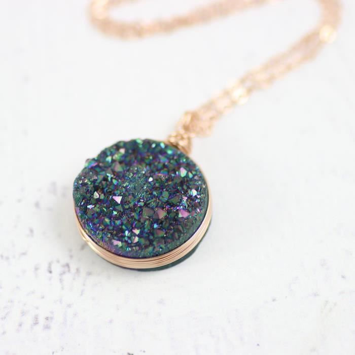 Womens Rainbow Druzy Rose Gold Filled Large Pendant Necklace - 18 Length GH76N