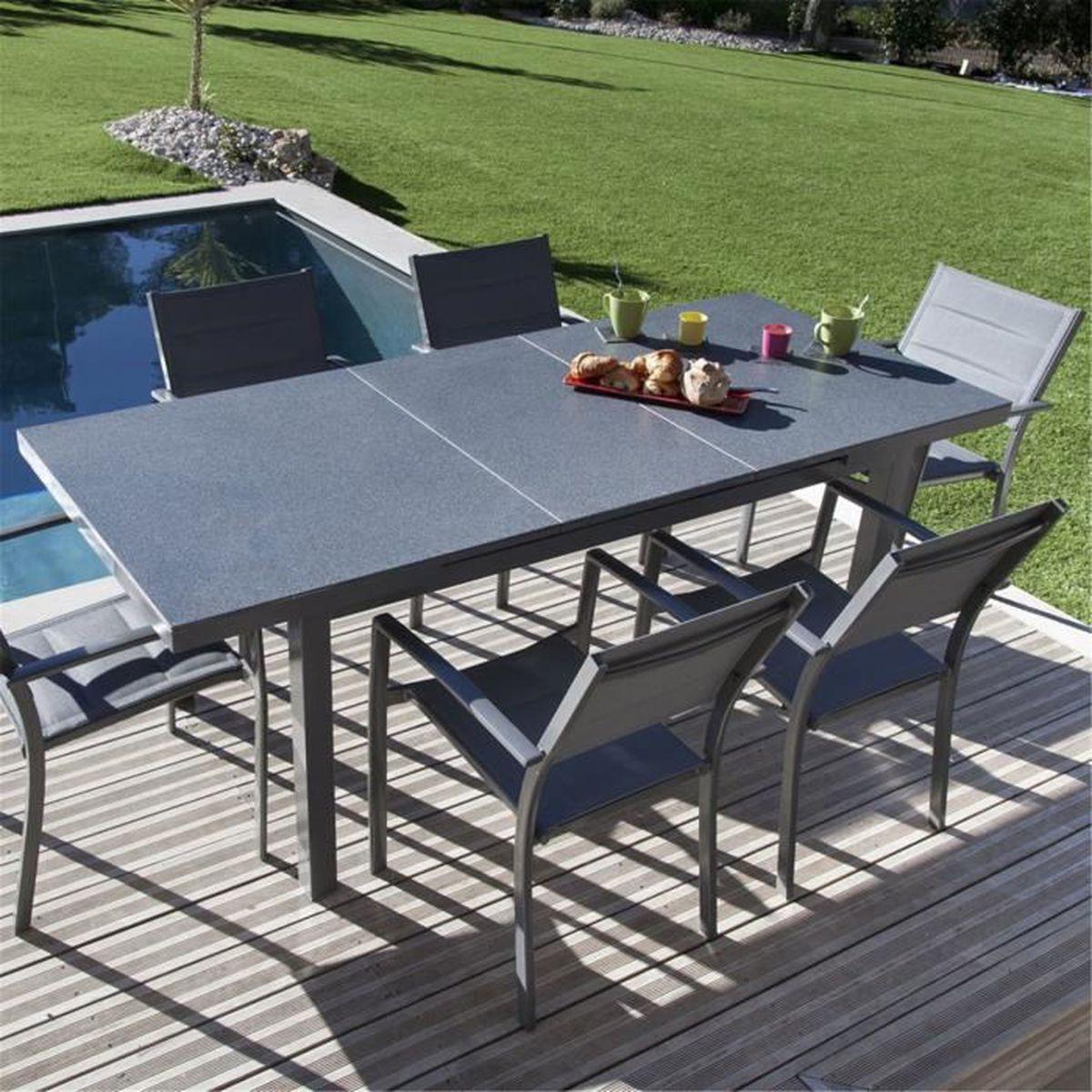 Pivoine Table de jardin extensible grise en verre finition ...