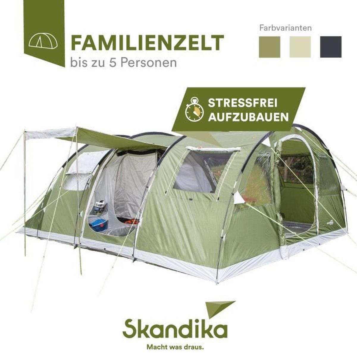 505 x 370 cm 5 Personnes Tente de Camping familiale Groupe Tunnel SKANDIKA Gotland 5