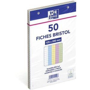 OXFORD Lot de 3 Blocs de 30 Fiches Bristol Perfor/ées 2.0 125x200 mm Q5//5 Blanc