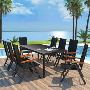 SALON DE JARDIN  9 pcs Mobilier à dîner d'extérieur :1 table et 8 c