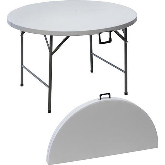 Table ronde de jardin en résine pliante 122 cm