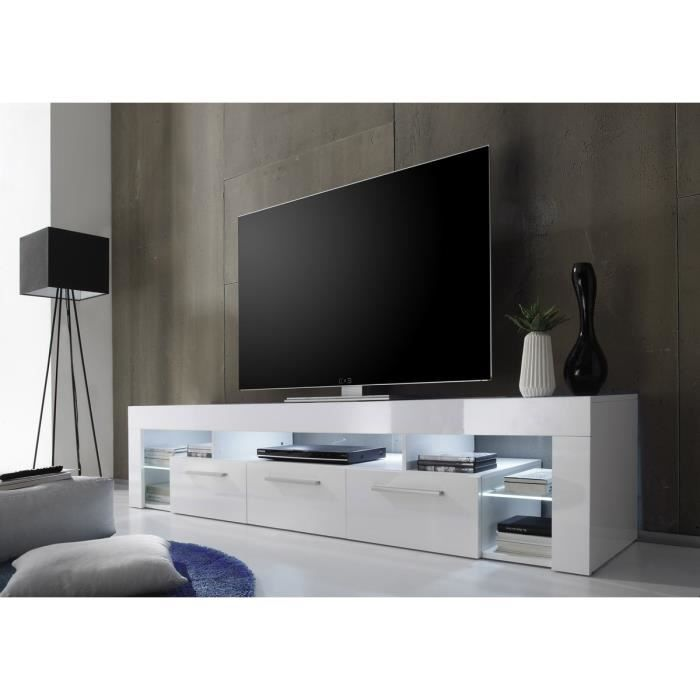 Score meuble tv 200cm blanc brillant achat vente for Meuble tv blanc 200 cm