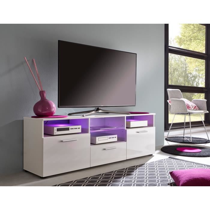 media meuble tv avec led 150 cm blanc achat vente. Black Bedroom Furniture Sets. Home Design Ideas