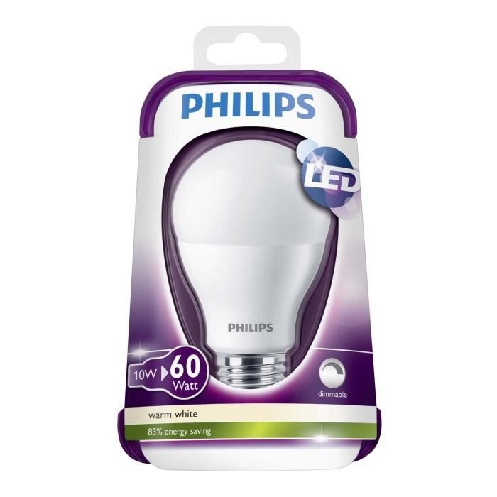 philips ampoule standard led 60w e27 dimmable achat vente ampoule led cdiscount. Black Bedroom Furniture Sets. Home Design Ideas