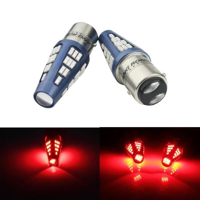 2x 9-30V Ampoules LED 48 SMD Rouge feux stop Feu arrière P21/5W BAY15D 1157