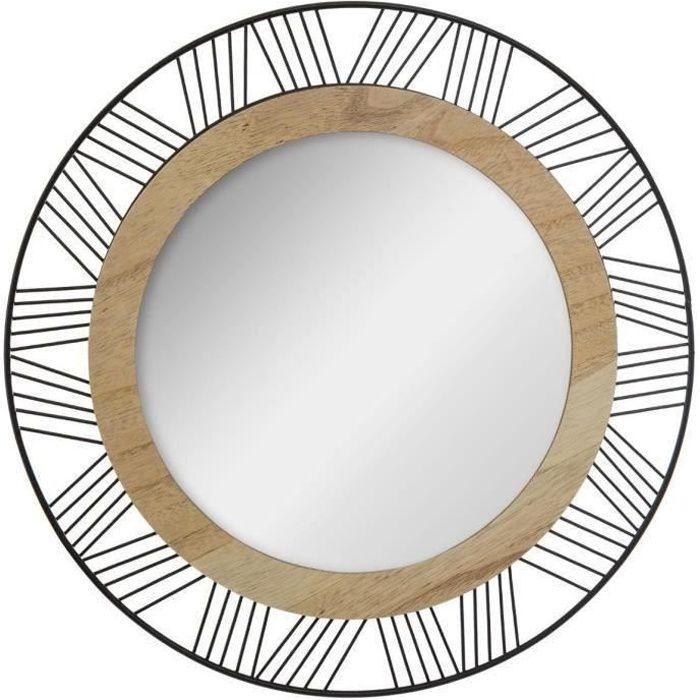 Miroir rond en métal et bois - Ø 45 x Ep. 1.5 cm - Noir