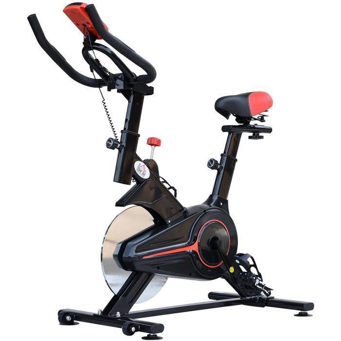 Homcom Vélo d'appartement Cardio vélo Biking écran Multifonction Selle et Guidon réglable Noir Rouge