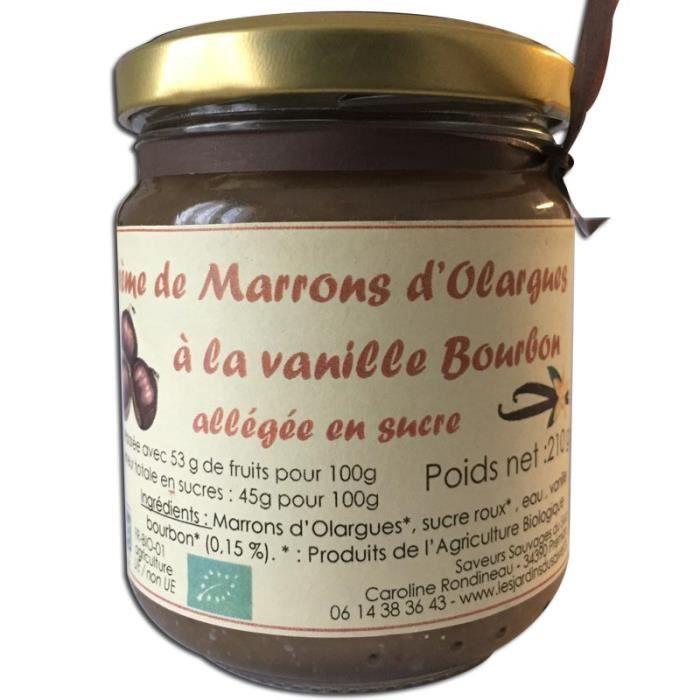 Crème de marrons Bio d Olargues à la vanille 210g Les Jardins du Salvet