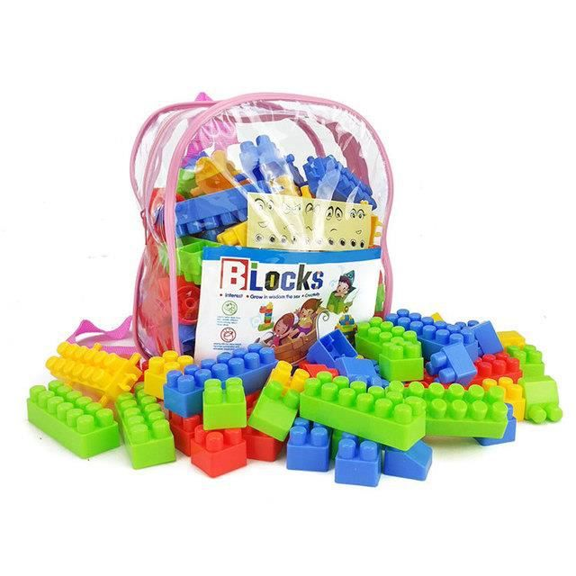 1PCS Bloks Sac rose, briques et jeu de construction, jouet pour bébé et enfant de 1 à 5 ans