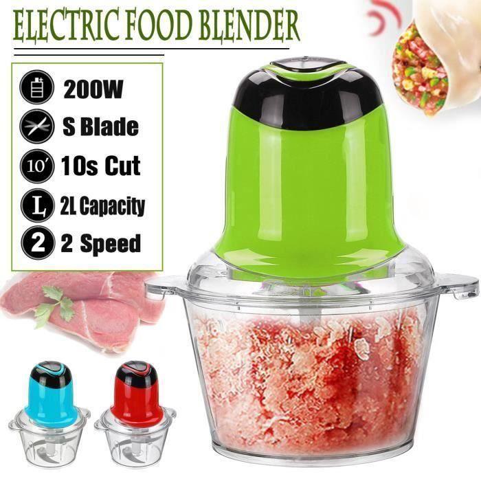 2L Mixeur Hachoir Électrique Multifonction hache-viande Machine à couper Légume Fruits robot culinaire 220V 200W bleu 1150g An20279