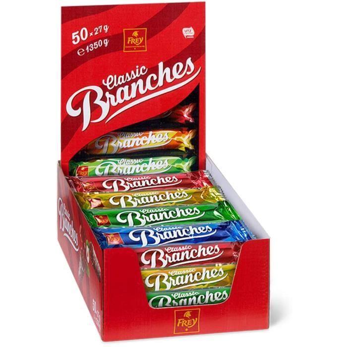 Frey 50 Branches Classic - Barres de chocolat - Présentoir de 50 barres de chocolat au lait fourrées à la crème aux noisettes - Fabr