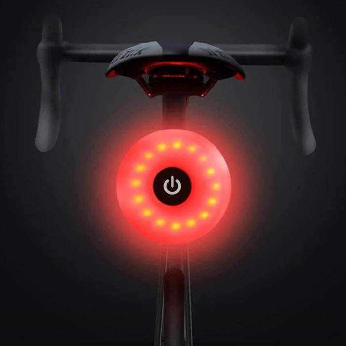 Feu arrière de vélo, Avertissement étanche Rechargeable LED USB 5 Modes lumière arrière (Noir)