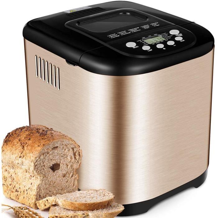 Acier Inox Machine à pain, 15 en 1 Automatiques Machines à Pain avec Pot en Céramique Antiadhésif, Machines Pain 1kg Capacité,