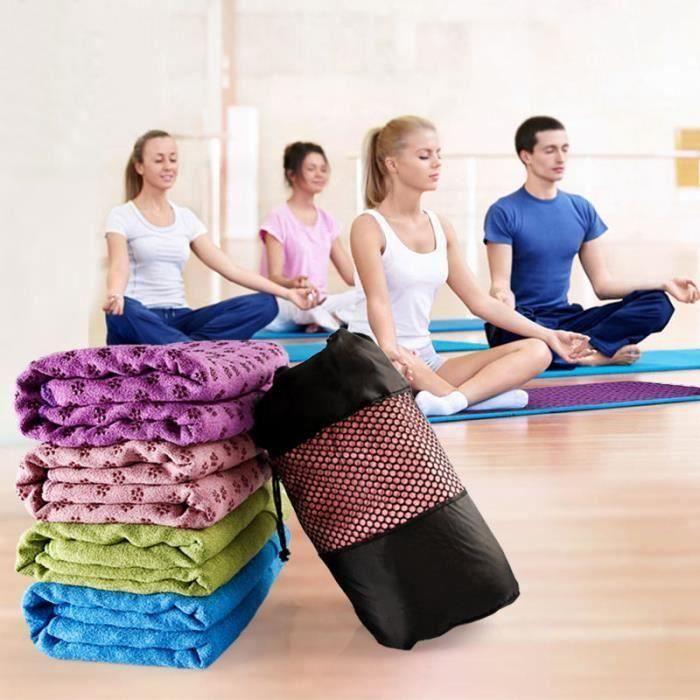 Serviette de yoga GRIP - antidérapant - de qualité supérieure - ultra absorbant - pour Yoga, Pilates, tapis de yoga Bleu MC1472