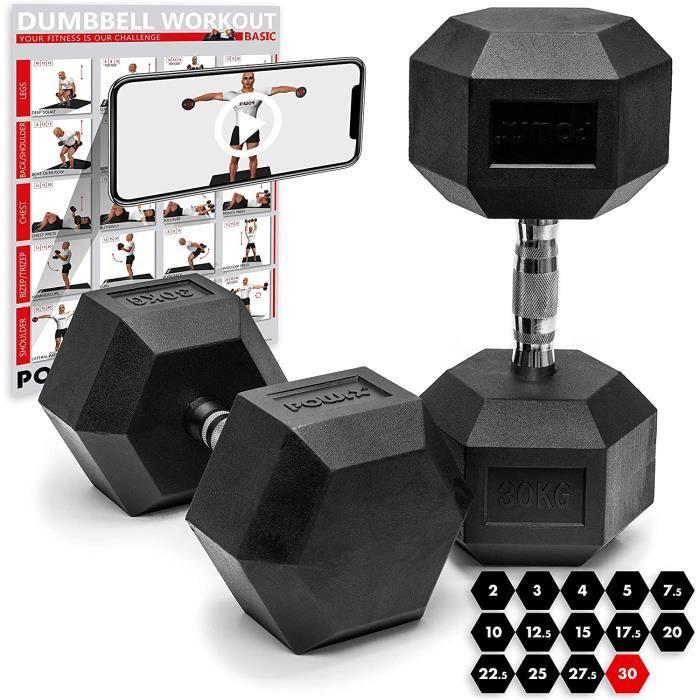 POWRX Haltères hexagone en Caoutchouc/Dumbbell 5 kg à 30kg / altere Musculation