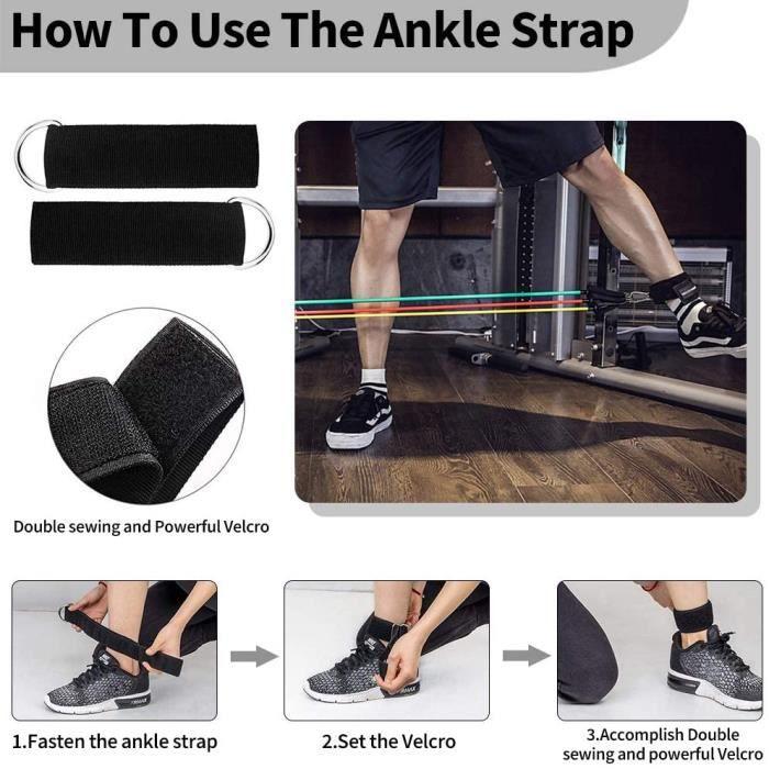elastique musculation bande elastique 100 LBS de résistance pour la maison y compris 5 bandes de fitness avec 1 ancrages de p 374