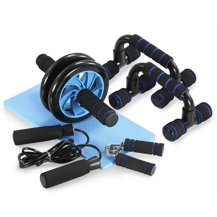 Appareils de Fitness 5 en 1 Roue Abdominale + Poignée de Pompe + Corde à Sauter + Pince à Main + Tapis pour Genou Kit Complet