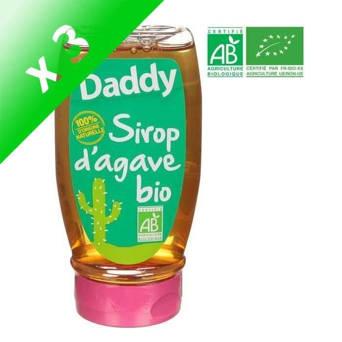 DADDY Sirop d'Agave Bio - 360 g (Lot de 3)
