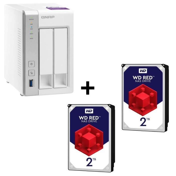 Pack QNAP Serveur NAS 2 baies TS-231P + 2 Disques Durs WD Red 2To (4To)