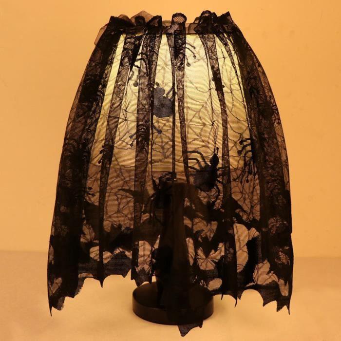 Halloween Dentelle Multifonction Style Gothique Bats Araignées Comme Abat-Jour Rideau Écharpe Robe, 152x51cm