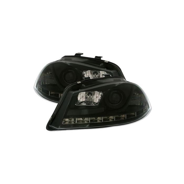 2 FEUX PHARE AVANT LED NOIR SEAT IBIZA 6L 02/2002 A 04/2008