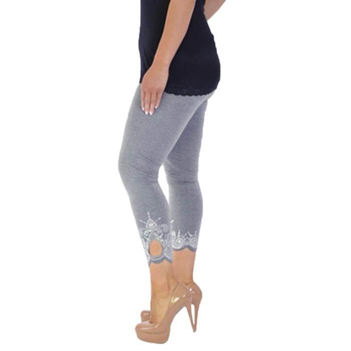 Femmes Sport Workout Yoga Imprimer Mid la taille en cours de remise en forme Pantalon Legging élastique gris