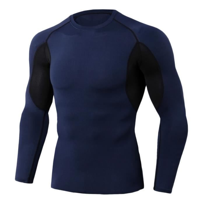 Tee Shirt De Sport Pour Homme Manches Longues Haut De Compression Base Layer Séchage Rapide TC86 3XL