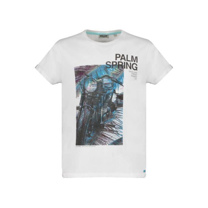 DEELUXE T-shirt imprimé moto MOTOPALM Optic White