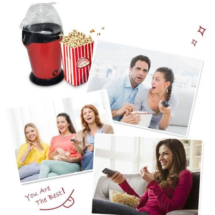 Machine à pop-corn à air chaud, Mini-outil à pop-corn à l'huile, Alliage d'aluminium en plastique, Noir rouge UE