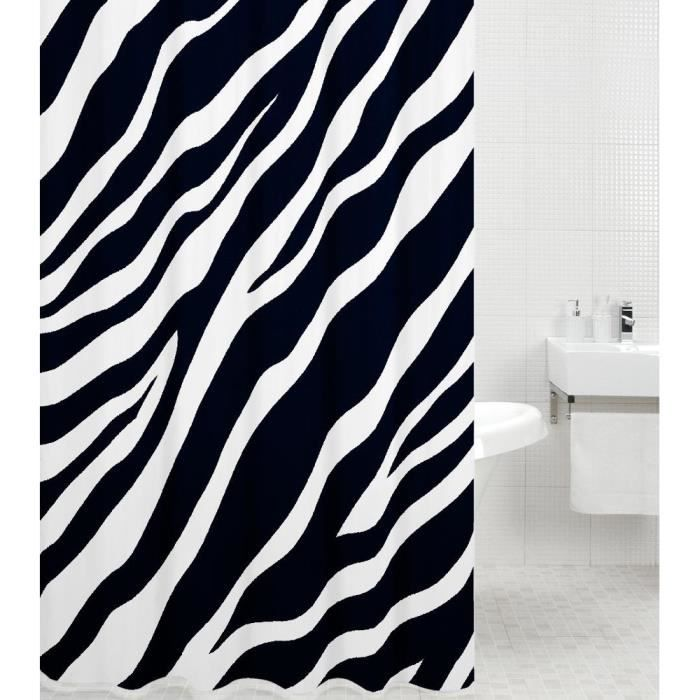 Rideau de douche Zèbre 180 x 200 cm - de haute qualité - 12 anneaux inclus - imperméable - effet anti-moisissures