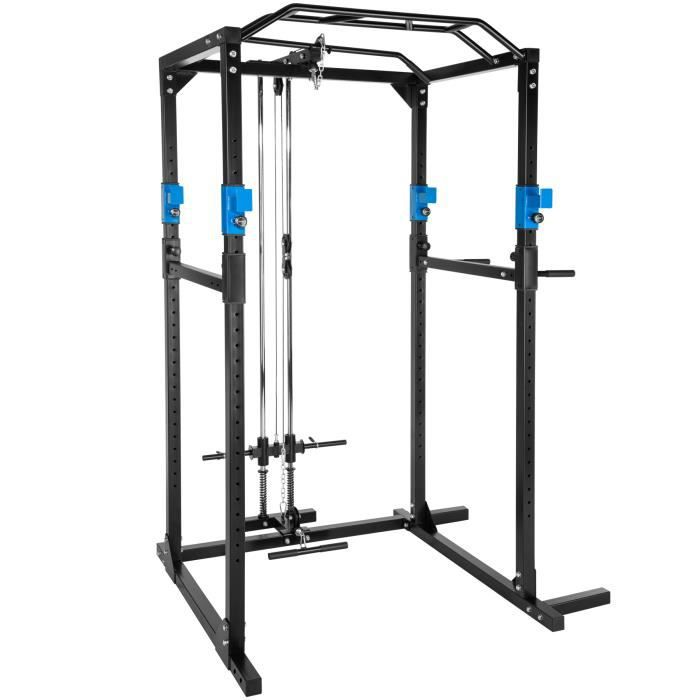 TECTAKE Cage de Musculation Charge 100 kg 4 supports pour haltères 136 cm x 142,5 cm x 215 cm Noir