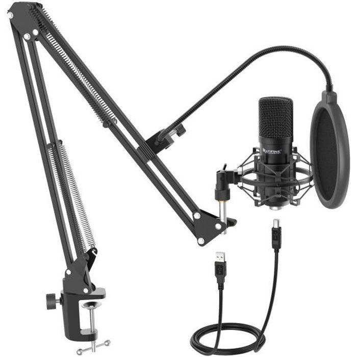WE Pack Microphone USB pour streaming, vlogging, Podcats, enregistrements - bras réglable et orientable - filtre anti-pop -