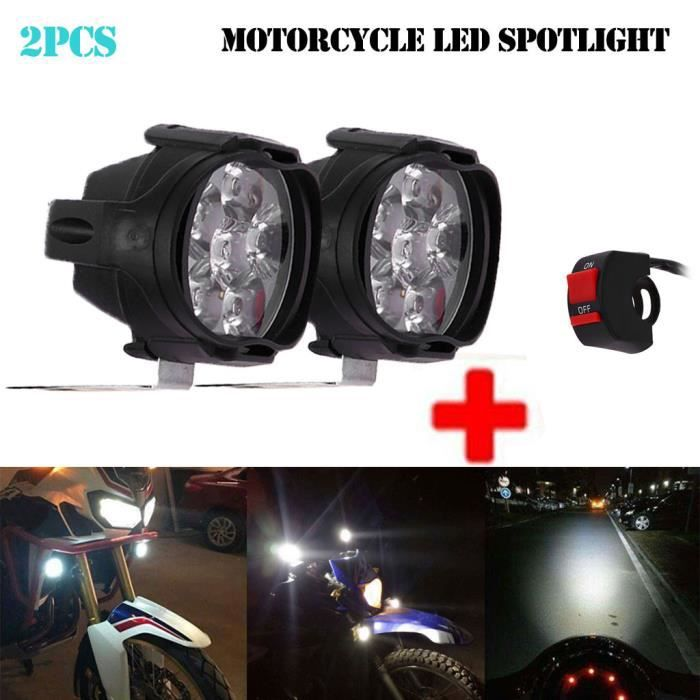 2pcs 1 Phare Moto Feux Additionnels LED Phares Avant Moto Anti Brouillard Projecteur Spot LED Moto 3000LM U7 Etanche pour Moto Quad Scooter avec Interrupteur ON OFF de Feux